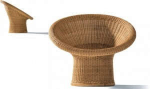 Egon Eiermann Rattan chair from Lampert