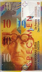 Porträt von Le Corbusier auf der Schweizer Zehn-Franken-Banknote