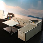 A USM lowboard as bench for USM Airportsystems at Passenger Terminal Expo 2016 Cologne