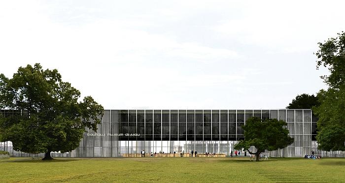 The planned new Bauhaus Museum Dessau, view from Stadtpark (Image © Gonzalez Hinz Zabala courtesy Stiftung Bauhaus Dessau)