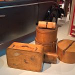 Hatboxes, bags and suitcases manufactured by Luterma, as seen at Plywood: Material of the Modern World, the  V&A Museum London