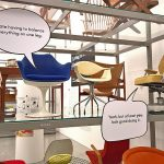 Some self body shaming by Frank Lloyd Wright's H. C. Price Tower chair, as seen at Living in a Box. Design and Comics, Vitra Design Museum Schaudepot