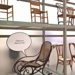 A Thonet Rocking Chair No. 1 getting a bit racy, as seen at Living in a Box. Design and Comics, Vitra Design Museum Schaudepot