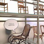 A Thonet Rocking Chair No. 1 getting a bit racy, as seen at Living in a Box. Design and Comics, Vitra Design Museum Schaudepot