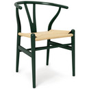 CH24 Wishbone Chair, Buche forstgrün lackiert (Limited Edition), Geflecht natur