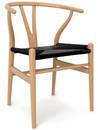 CH24 Wishbone Chair, Buche klar lackiert, Geflecht schwarz