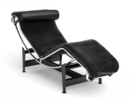 LC4 Chaiselongue, verchromt, Fell uni schwarz