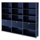 USM Haller Aktenregal XL, individualisierbar, Stahlblau RAL 5011, Offen, Offen, Mit 3 Klappen, Offen