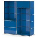 USM Haller Garderobe L mit 2 Kleiderstangen, Enzianblau RAL 5010