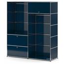 USM Haller Garderobe L mit 2 Kleiderstangen, Stahlblau RAL 5011