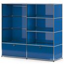 USM Haller Garderobe L mit Kleiderstange, Enzianblau RAL 5010
