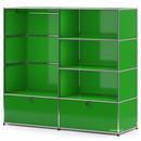 USM Haller Garderobe L mit Kleiderstange, USM grün
