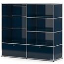 USM Haller Garderobe L mit Kleiderstange, Stahlblau RAL 5011
