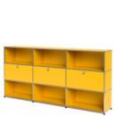 USM Haller Highboard XL, individualisierbar, Goldgelb RAL 1004, Offen, Mit 3 Klappen, Offen