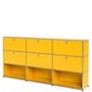 USM Haller Highboard XL, individualisierbar, Goldgelb RAL 1004, Mit 3 Klappen, Mit 3 Klappen, Offen