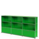 USM Haller Highboard XL, individualisierbar, USM grün, Offen, Offen, Mit 3 Klappen