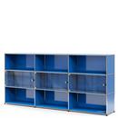 USM Haller Highboard XL mit 3 Glastüren, ohne Schloss, Enzianblau RAL 5010