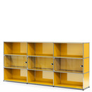 USM Haller Highboard XL mit 3 Glastüren, ohne Schloss, Goldgelb RAL 1004