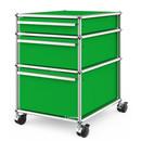 USM Haller Rollcontainer mit 3 Schubladen Typ II (mit Gegengewicht), Kein Schloss, USM grün