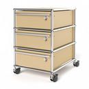 USM Haller Rollcontainer mit 3 Schubladen Typ I (mit Gegengewicht), Alle Fächer mit Schloss, USM beige