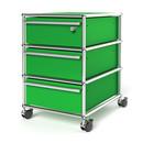 USM Haller Rollcontainer mit 3 Schubladen Typ I (mit Gegengewicht), Oberste Schublade mit Schloss, USM grün