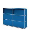 USM Haller Theke Typ 2 (mit Schrägtablaren), Enzianblau RAL 5010, 150 cm (2 Elemente), 35 cm