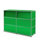 USM Haller Theke Typ 2 (mit Schrägtablaren), USM grün, 150 cm (2 Elemente), 50 cm