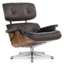 Lounge Chair, Nussbaum schwarz pigmentiert, Leder Premium F chocolate, 84 cm - Originalhöhe 1956, Aluminium poliert