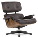 Lounge Chair, Nussbaum schwarz pigmentiert, Leder Premium F chocolate, 89 cm, Aluminium poliert, Seiten schwarz