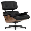 Lounge Chair, Nussbaum schwarz pigmentiert, Leder Premium F nero, 89 cm, Aluminium poliert, Seiten schwarz