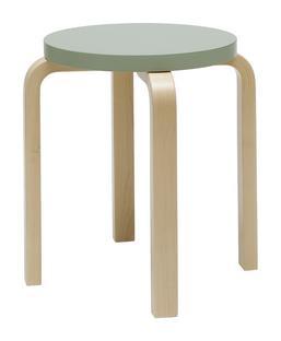 Stool E60 Sitz lackiert grün, Beine Birke klar lackiert