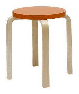 Stool E60 Sitz lackiert orange, Beine Birke klar lackiert