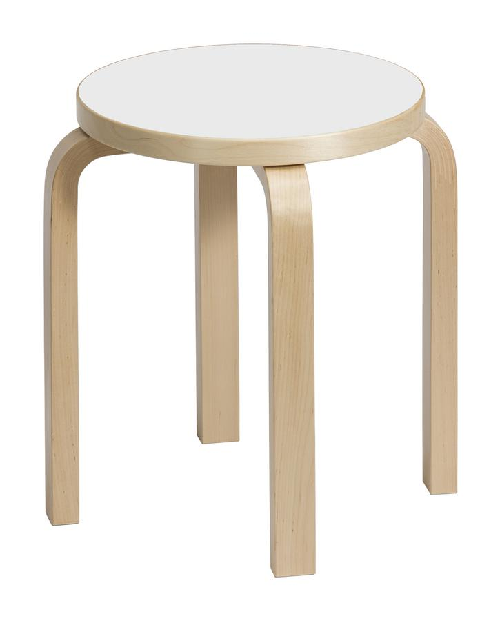 artek hocker e60 sitz laminat wei beine birke klar. Black Bedroom Furniture Sets. Home Design Ideas
