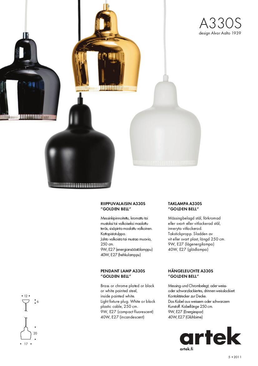 Artek products lighting pendant light a338 - Product Datasheet Please Click On Picture For Detailed Information Ca 0 6 Mb