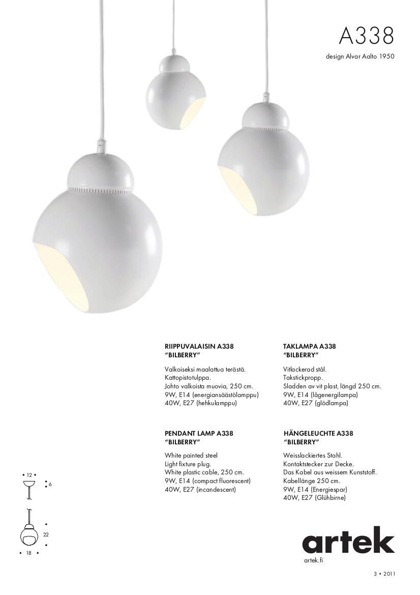 Artek products lighting pendant light a338 - Product Datasheet Please Click On Picture For Detailed Information Ca 0 1 Mb