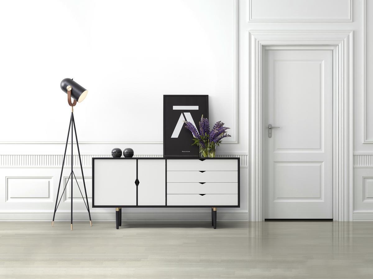 Andersen S6 Sideboard, Schwarz lackiert, Silber-weiß/Beige ...