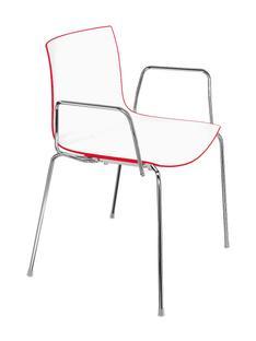 Catifa 46 Tube Chrom|Zweifarbig|Rücken rot, Sitz weiß|Mit Armlehnen