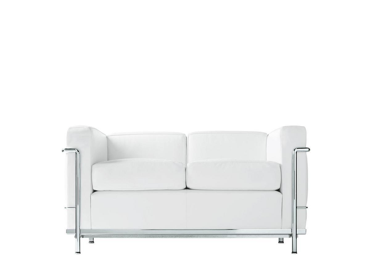 Cassina LC2 Sofa, Zweisitzer, verchromt, Leder Scozia, Weiß von Le ...