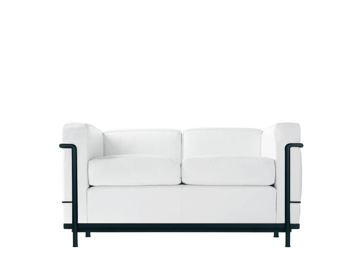 Cassina LC2 Sofa, Zweisitzer, schwarz matt lackiert, Leder Scozia ...