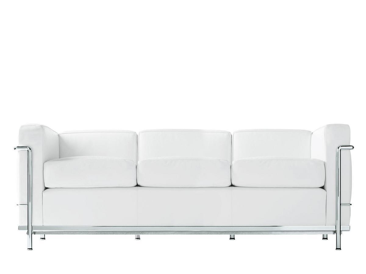 Cassina LC2 Sofa, Dreisitzer, verchromt, Leder Scozia, Weiß