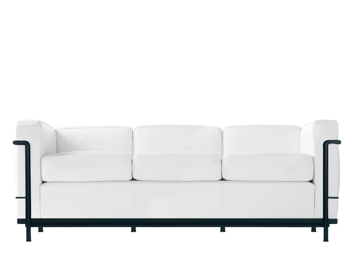 cassina lc2 sofa dreisitzer schwarz matt lackiert leder scozia wei von le corbusier pierre. Black Bedroom Furniture Sets. Home Design Ideas
