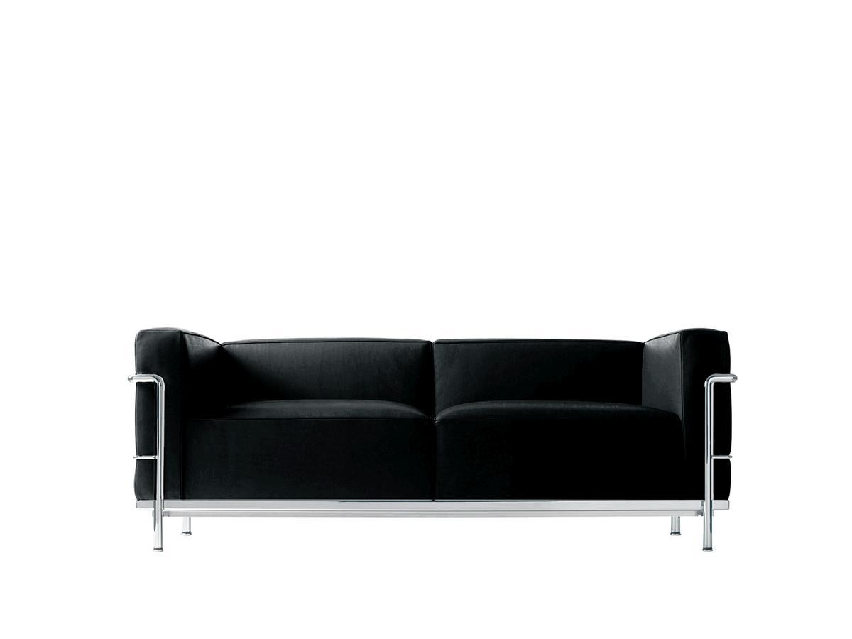 Cassina Lc3 Sofa Zweisitzer Verchromt Leder Scozia Schwarz Von