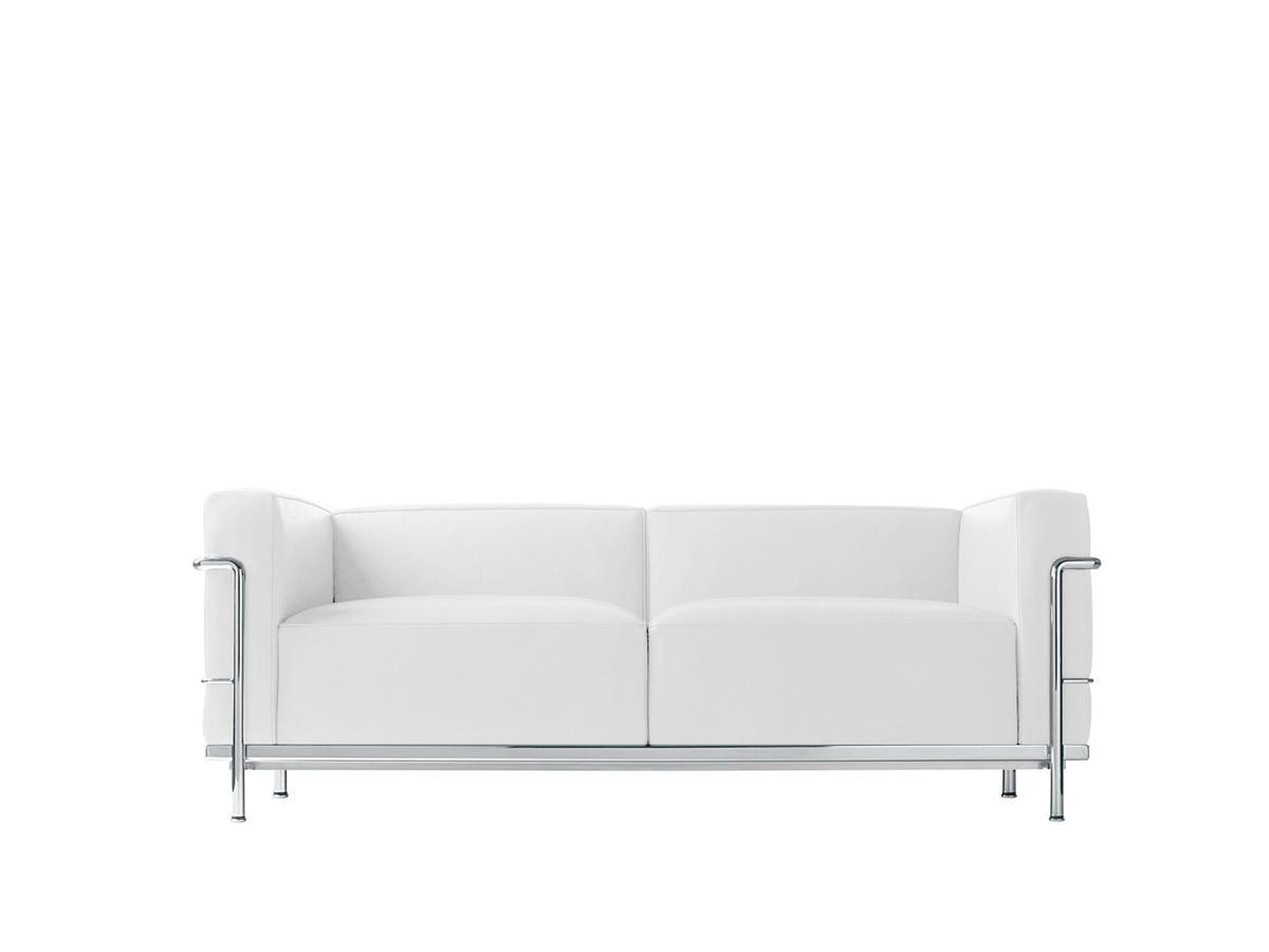 Cassina Lc3 Sofa Zweisitzer Verchromt Leder Scozia Weiß Von Le