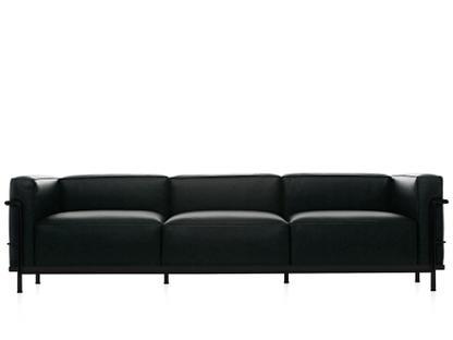 LC3 Sofa Dreisitzer Schwarz matt lackiert Leder Scozia Schwarz