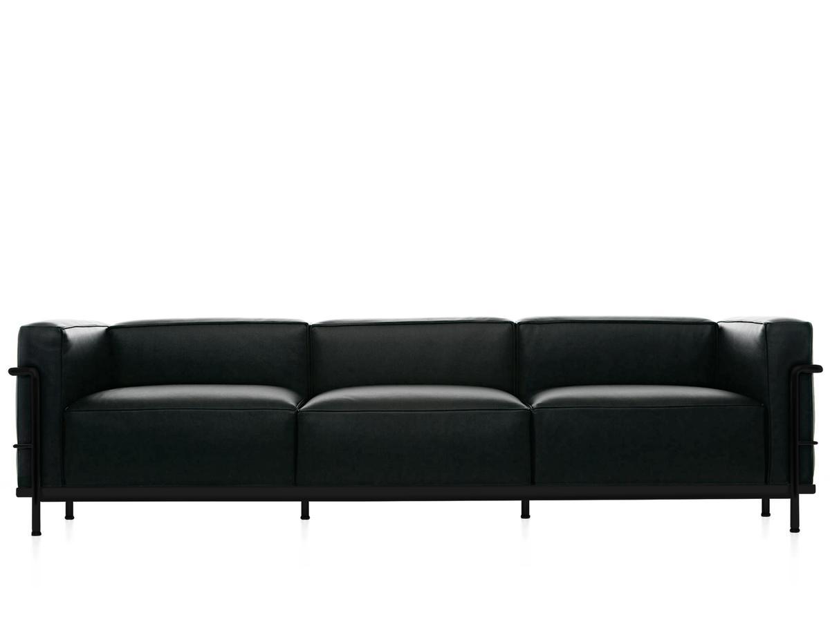 Cassina LC3 Sofa, Dreisitzer, schwarz matt lackiert, Leder Scozia ...