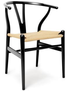 CH24 Wishbone Chair Buche schwarz lackiert|Geflecht natur