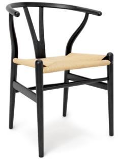 CH24 Wishbone Chair Eiche schwarz lackiert Geflecht natur