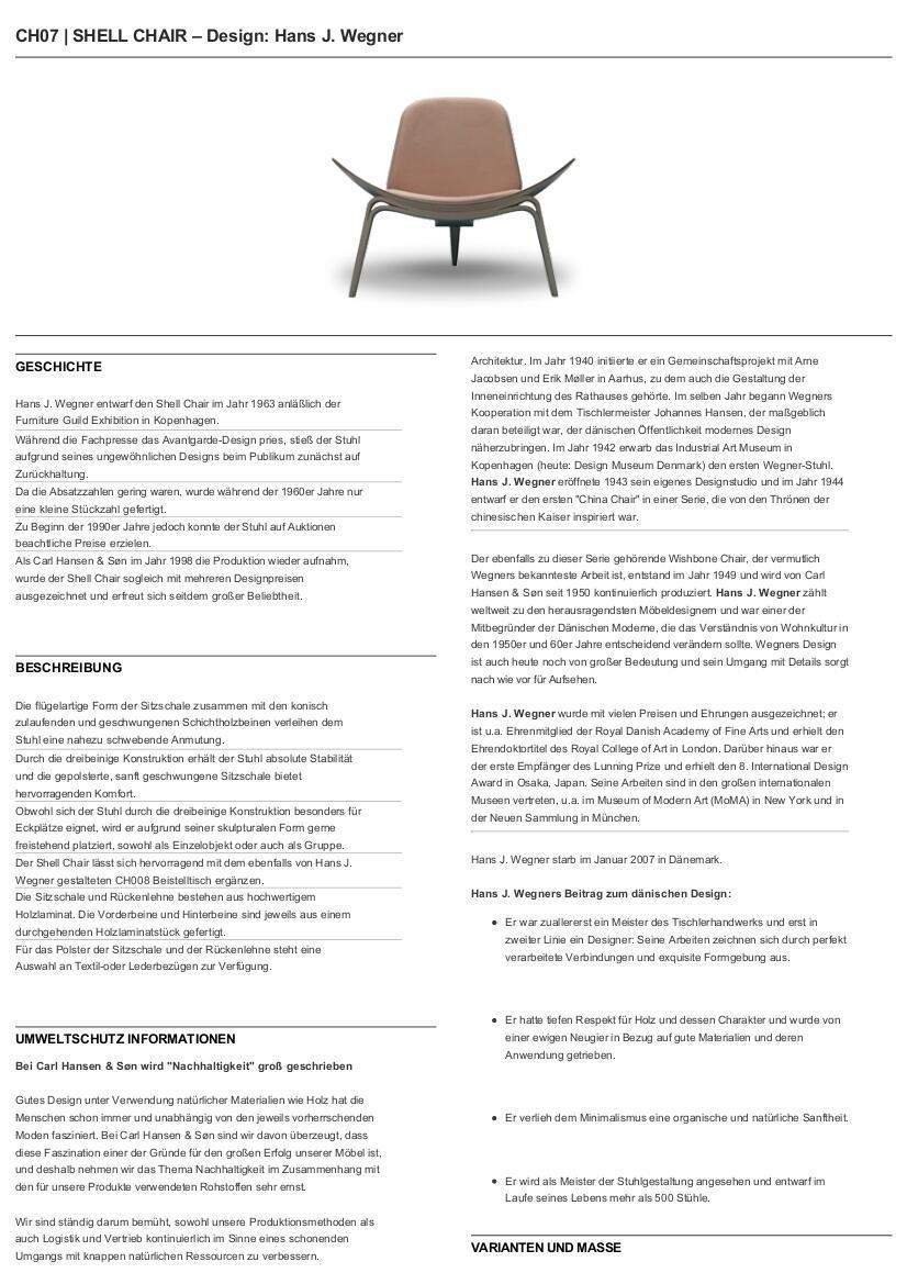 Carl Hansen & Søn Ch07 Shell Chair Von Hans J. Wegner, 1963 ... Design Relaxsessel Holz Carl Hansen