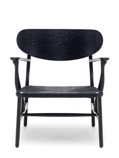 CH22 Lounge Chair Eiche schwarz lackiert, Papiergarn schwarz
