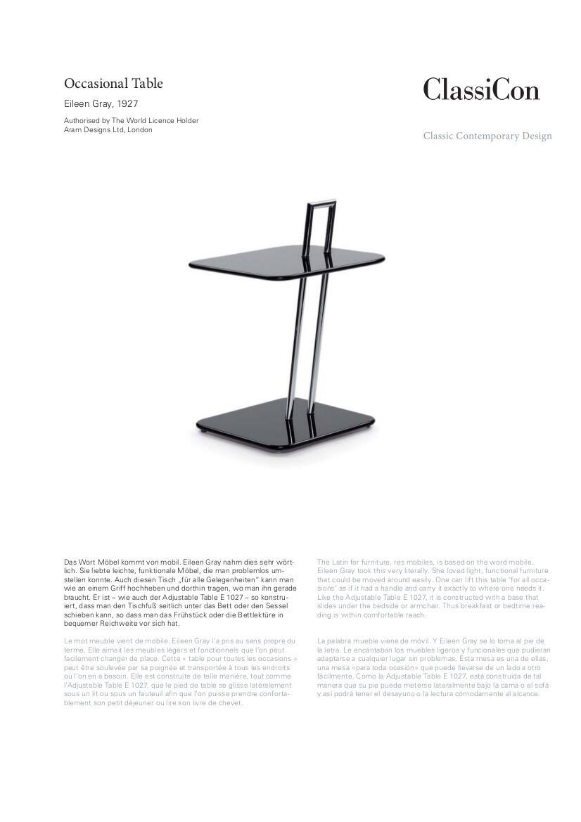 Classicon Occasional Table By Eileen Gray 1927 Designer  # Bedtime Muebles